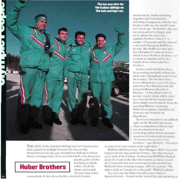 La pagina dedicata ai fratelli Huber da Sports Illustrated dopo Lillehammer
