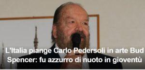 Il titolo del sito di Eurosport che ricorda lo scomparso Carlo Pedersoli, in arte Bud Spencer