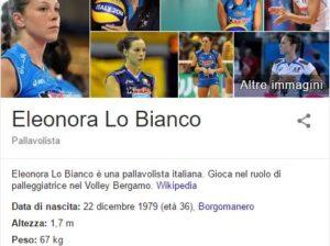 La pagina di Wikipedia dedicata all'azzurra Eleonora Lo Bianco