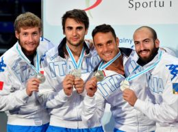 Torun, 24 june 2016  European  Fencing Championships  V day in photo:  BUZZI Lorenzo, GAROZZO Enrico, SANTARELLI Andrea e PIZZO Paolo Photo Augusto Bizzi