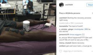 Le gambe di Bolt sotto trattamento dopo l'infortunio sul suo account Instagram