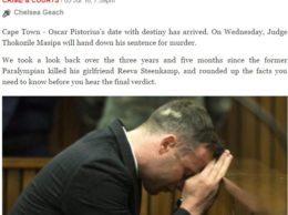 Un momento del Processo a Pistiorius sulle colonne del sito www.iol.co.za