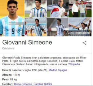 La foto del figlio 21enne di Diego Simeone su wikipedia.