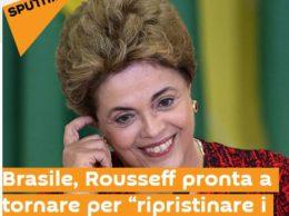 """Un titolo di articolo che riguarda il desiderio di """"ritorno"""" alla ribalta della Rousseff (dal web)"""