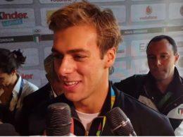 Gregorio Paltrinieri alle interviste (foto alaNEWS)