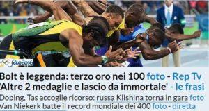 La partenza di Bolt sul sito de la Repubblica